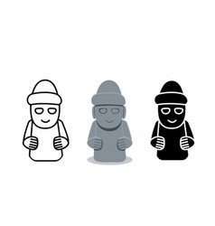 Isolated grandfather statues dol hareubang vector