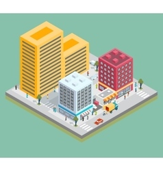 Isometric city center map with buildings shops vector