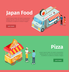 Japan food and pizza mobile carts with street meal vector