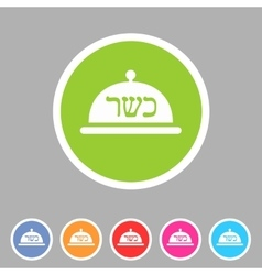 Kosher food platter dish meal icon sign symbol vector