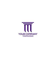 Legal pillar m logo design vector