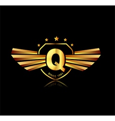 Letter Q winged crests logo Alphabet logotype vector image