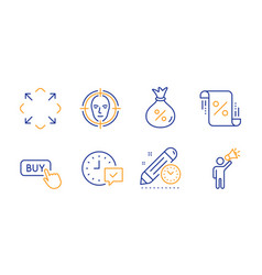 Loan select alarm and maximize icons set face vector