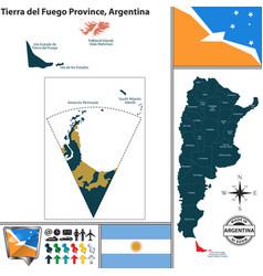 Map of tierra del fuego province argentina vector