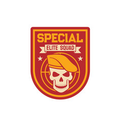 Maritime or aviation forces patch skull in beret vector