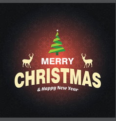 merry christmas greetings design with dark vector image