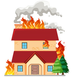 modern house on fire vector image