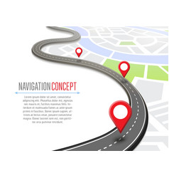 Navigation concept with pin pointer vector