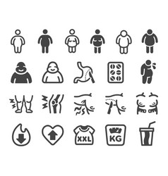 obesity icon set vector image