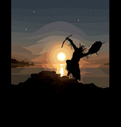 Painted silhouette a dancing shaman vector
