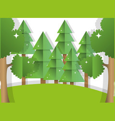paper art forest vector image
