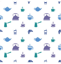 pattern with colorful coffee cup and tea cup icons vector image