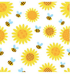 pattern with flying cartoon bees isolated vector image