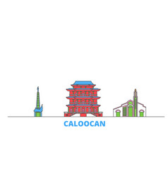 Philippines caloocan line cityscape flat vector