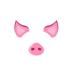 Pig carnival mask ears and piglet piggy symbol of vector