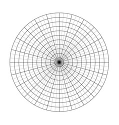 polar grid of 10 concentric circles and 5 degrees vector image
