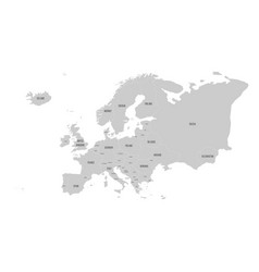 political map of europe continent in grey with vector image