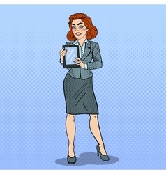 Pop Art Business Woman Holding Digital Tablet vector image