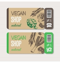 Promotional coupon for sale in organic shop vector