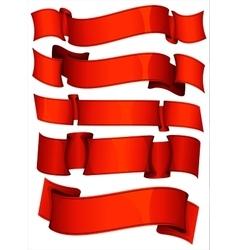 Red ribbon set vector