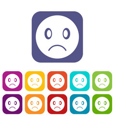 Sad emoticons set vector