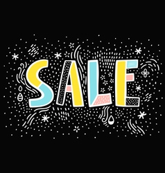 Sale doodle sign on black background vector image