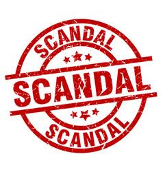 Scandal round red grunge stamp vector