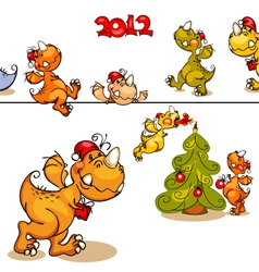 set dragons and christmas tree vector image