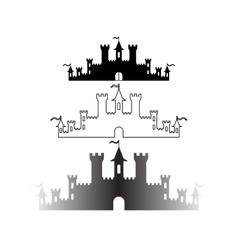 Set of Fantasy castles silhouettes for design vector