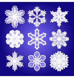 set of filigree snowflakes vector image