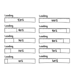 Set of progress loading bars from 0 to 100 percent vector image
