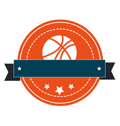 Silhouette color emblem with basketball ball and vector