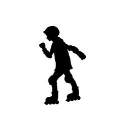 Silhouette girl skating rollerblading sport vector