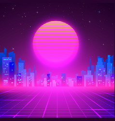 silhouetted night city on skyline 80s retro vector image