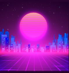 Silhouetted night city on skyline 80s retro vector