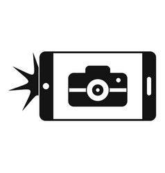 Smartphone take photo icon simple style vector