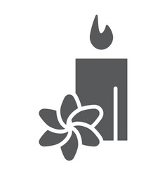 spa glyph icon hotel and relax lotus and candle vector image