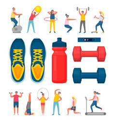 sports equipment and people doing exercises set vector image