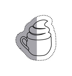 sticker shading silhouette cup of cappuccino with vector image