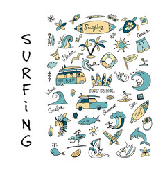 surfing icons collection for your design vector image