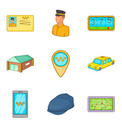 Taxicab icons set cartoon style vector