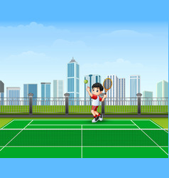 the boy are playing tennis vector image