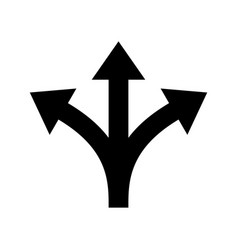 Three way direction arrow sign vector