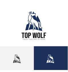 Top mountain king crown wolf alpha logo vector
