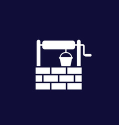 Water well icon on dark vector