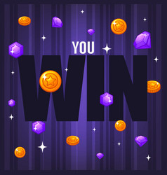 You win congratulation bright and glossy banner vector