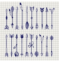 Ball pen arrows on notebook page vector image vector image