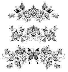 Floral patterns page dividers and decorations vector image