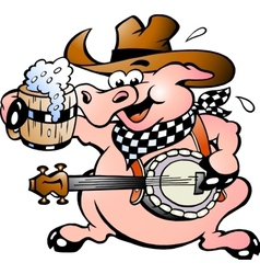 Hand-drawn of an pig playing banjo vector