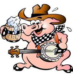 Hand-drawn of an pig playing banjo vector